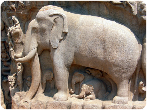 Image of life-size elephant is carved from granite