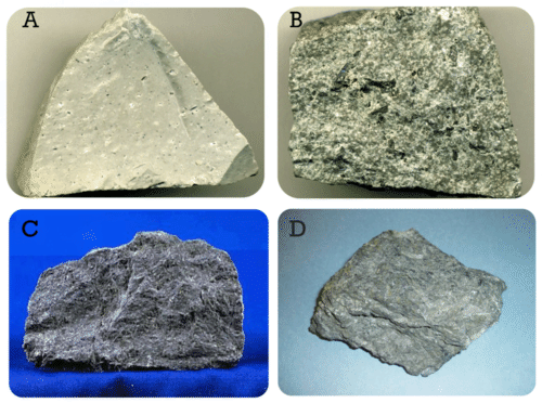 Image of 4 types of Extrusive igneous rocks